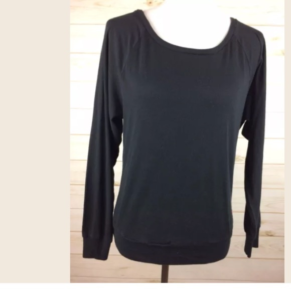 7c28a750e9442 Pink by Victoria's Secret black long sleeve Top